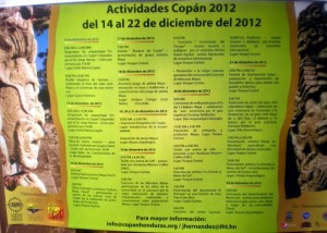 A schedule of event posts for the Copan 2012 celebrations. Apparently, the Honduran Ministry of Tourism had been doing their job!