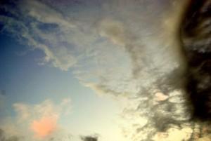 An ominous sky over Copan, as dark rain clouds creep in.