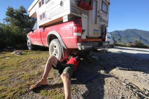 Ken does a bit of roadside maintenance in Guatemala.