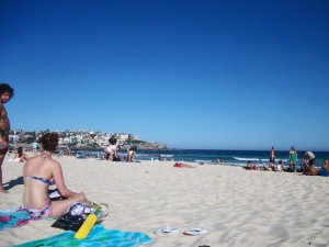 Catching some rays at Bondi Beach.