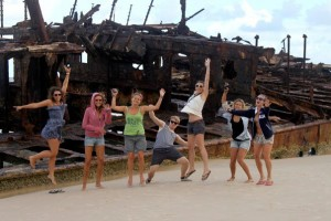 My crew at the Maheno shipwreck on Fraser Island!