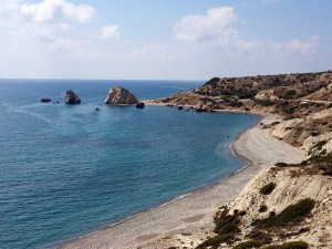 Petra Tou Romiou (Rock of the Greek), or Aphrodite's Rock in Cyprus.  Photo by Michal Osmenda (Wikimedia)