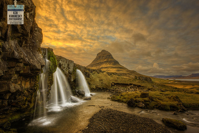Grundarfjordur Waterfalls and Kirkjufell Mountain in Iceland