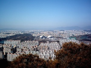 A view of Gwangju (in South Korea) that shows one of the world cup stadiums. Photo via Wikimedia Commons by Nesnad.