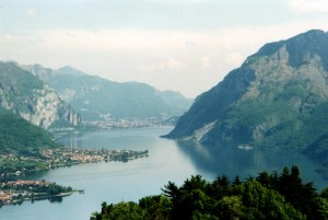 View of Lake Como's Lecco Arm, from near Civenna. Photo via Wikimedia, by Stan Shebs.