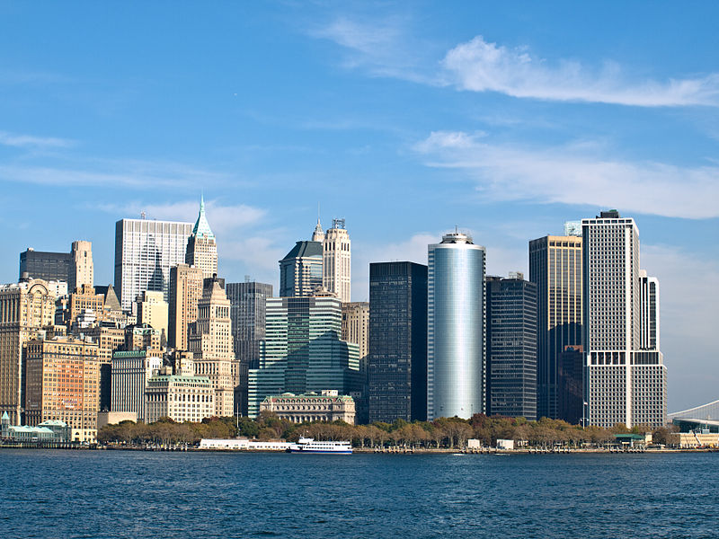 New York skyline as seen from the Circle Line Ferry, Manhattan, New York. Photo via Wikimedia, by William Warby