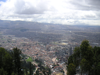 Southern Bogotá, from Monserrate mountain. Photo via Wikimedia, by Louise Wolff.