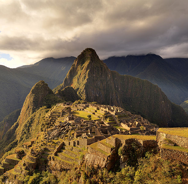 Machu Picchu at sunset. Photo via Wikimedia, by Martin St-Amant (S23678).