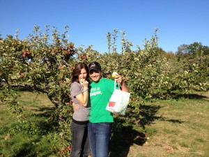 John and I, apple picking.