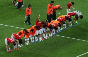 Players of Japan's women's national football team (Nadeshiko Japan) thank supporters at Wembley Stadium. Photo via Wikimedia by Christopher Johnson.