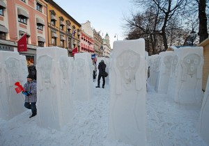 "Snow and ice sculpture ""The Scream,"" by artist Mark Szulgit, USA. Placed on Karl Johans gate, Oslo's main street, during FIS Nordic World Ski Championships 2011, as part of cultural program. Photo via Wikimedia by Helge Høifødt."