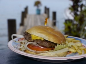 An unhealthy, but tasty, choice: burger from Buena Vista Bar & Grill, Bocas Del Toro.