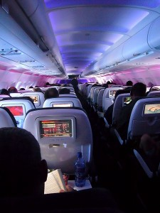 Virgin America plane interior. Photo via Wikimedia by David Lytle.