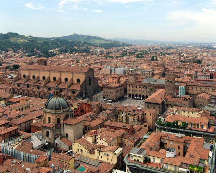 Bologna, from the top of Torre degli Asinelli. Bologna hosts many festivals throughout the year. Photo by Steffen Brinkmann, via Wikimedia.