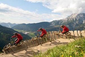 Mountain biking in Leogang, Austria. Via Wikimedia by Nikb.