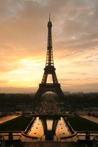 The Eiffel tower at sunrise, taken from the Place du Trocadero. Via Wikimedia by Tristan Nitot.