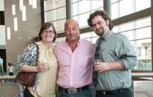 Me and my husband, Kyle Gray Young, hanging with Andrew Zimmern before dinner.