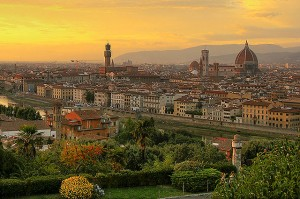 Sunset over Florence. Via Wikimedia by Sherseydc,